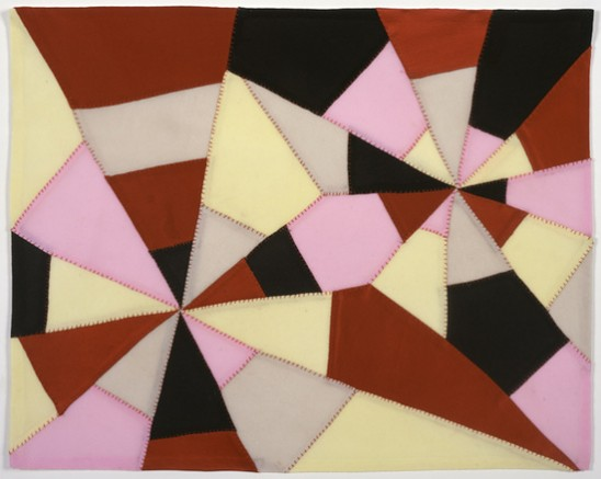 image of intersecting triangles coloured in 5 different shades of pink, yellow, black, grey, and red-brown